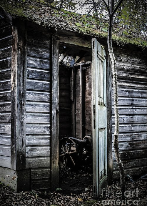 Sinister Greeting Card featuring the photograph Old Abandoned Well House With Door Ajar by Edward Fielding