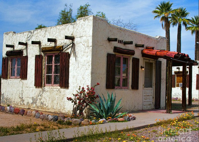 Arizona Greeting Card featuring the painting Old Adobe Cottage by Brian Lambert