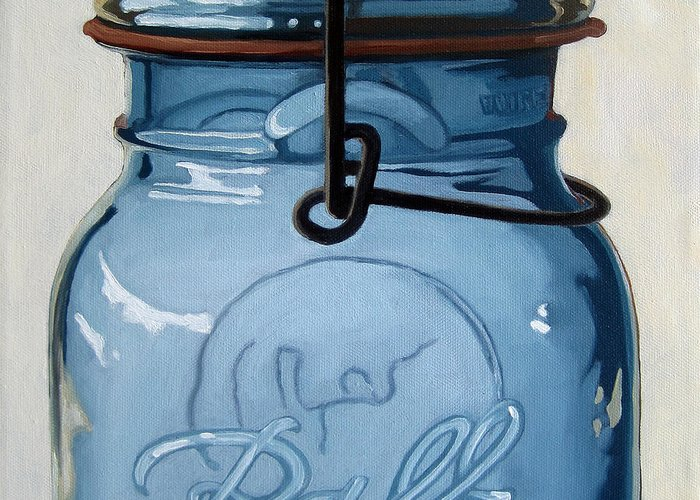 Realism Greeting Card featuring the painting Old Ball Jar -oil Painting by Linda Apple