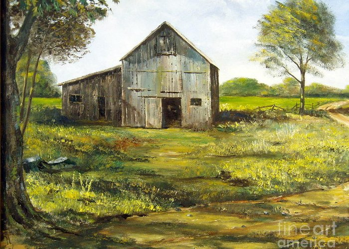 Barn Greeting Card featuring the painting Old Barn by Lee Piper