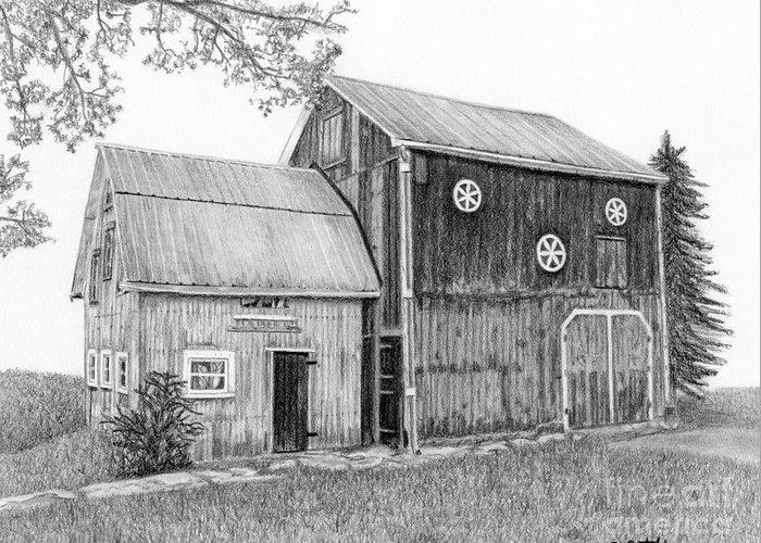 Barns Greeting Card featuring the drawing Old Barn by Sarah Batalka