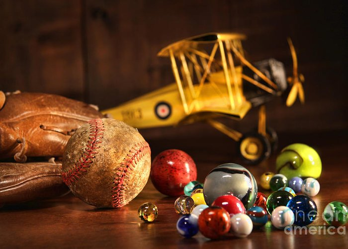 Aged Greeting Card featuring the photograph Old Baseball And Glove With Antique Toys by Sandra Cunningham