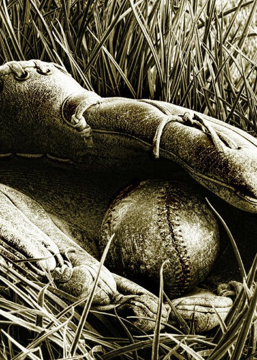 American Greeting Card featuring the photograph Old Baseball Glove With Ball In The Grass by Sandra Cunningham
