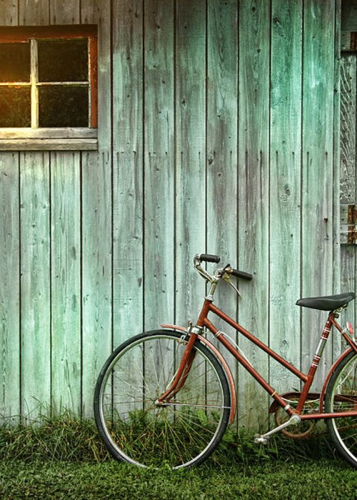 Autumn Greeting Card featuring the photograph Old Bicycle Leaning Against Grungy Barn by Sandra Cunningham