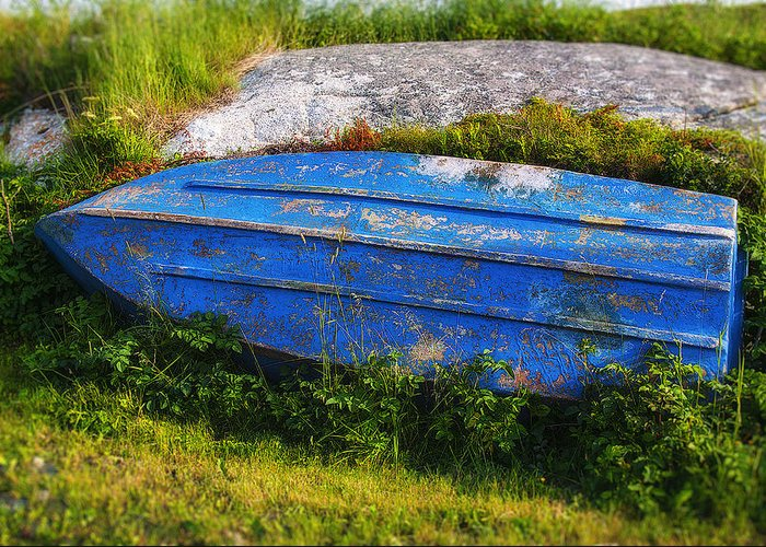 Old Greeting Card featuring the photograph Old Blue Boat by Garry Gay