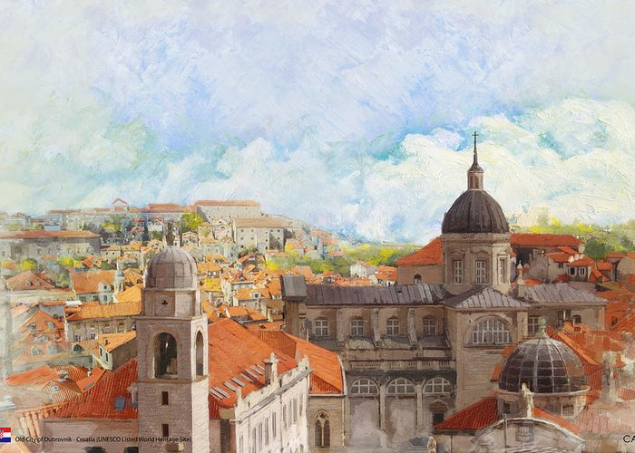 Museum Greeting Card featuring the painting Old City Of Dubrovnik by Catf