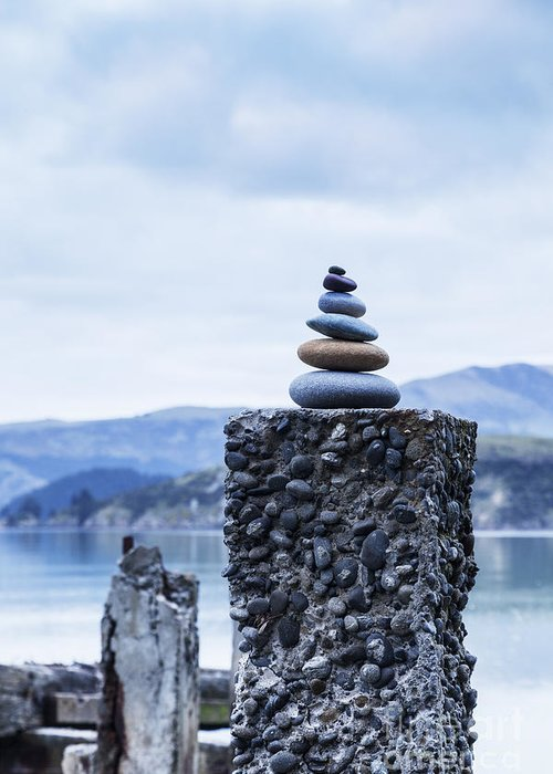 Cairn Greeting Card featuring the photograph Old Concrete Jetty Posts Governors Bay Banks Peninsula New Zealand by Colin and Linda McKie