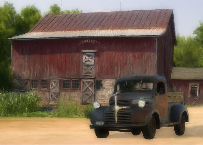 Old Greeting Card featuring the painting Old Dodge Truck by Jack Zulli
