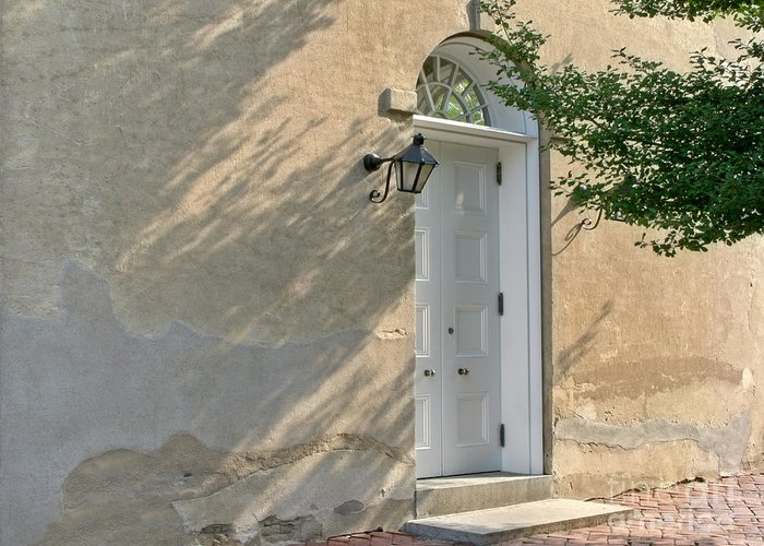 Wall Greeting Card featuring the photograph Old Door And Stucco Wall by Olivier Le Queinec