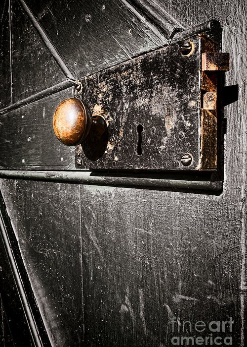 Door Lock Greeting Card featuring the photograph Old Door Lock by Olivier Le Queinec