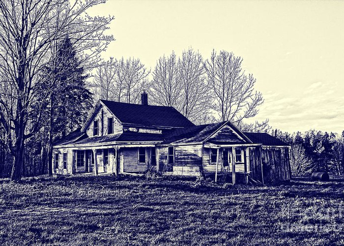Blueprint Greeting Card featuring the photograph Old Farm House by Jim Lepard