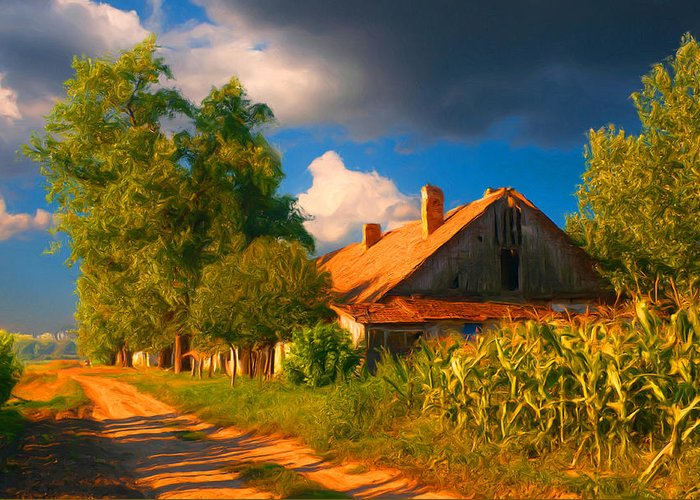 Old Farm On The Country Side Greeting Card by Sasa Prudkov