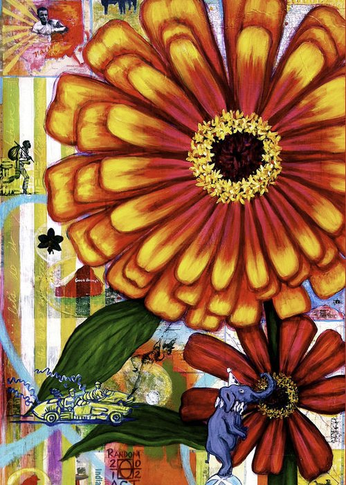 Indianapolis Greeting Card featuring the painting Old Fashion Garden by Andrea LaHue aka Random Act