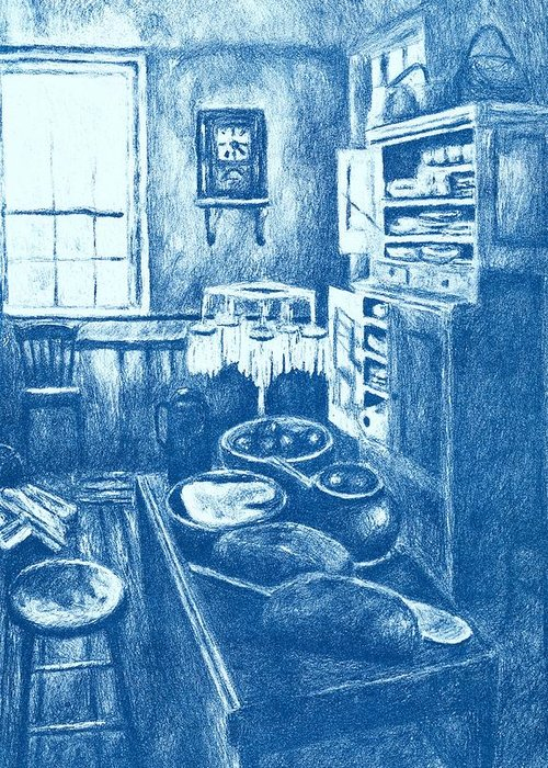 Lithograph Greeting Card featuring the drawing Old Fashioned Kitchen In Blue by Kendall Kessler