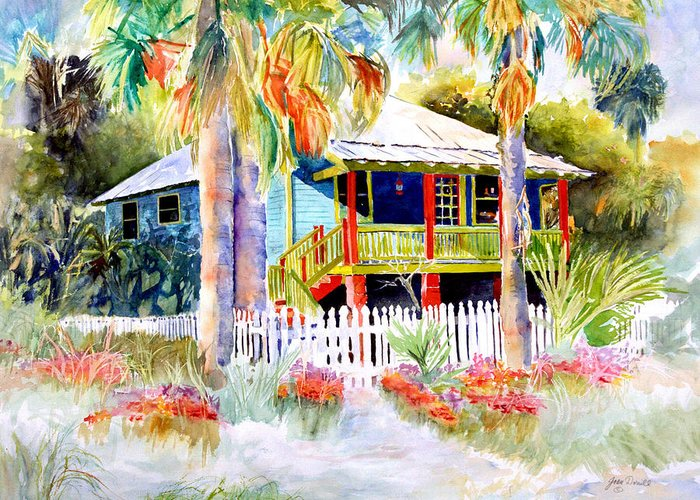Landscape Painting Greeting Card featuring the painting Old Florida House by Joan Dorrill