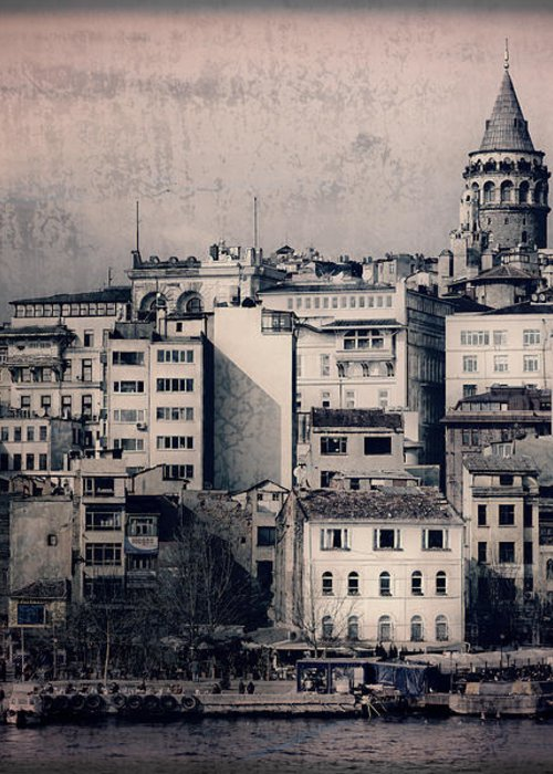 Galata Tower Greeting Card featuring the photograph Old New District by Joan Carroll