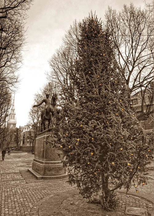 Paul Revere Greeting Card featuring the photograph Old North Church And Paul Revere by Joann Vitali
