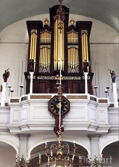 Old North Church Organ Greeting Card featuring the photograph Old North Church Organ by John Rizzuto