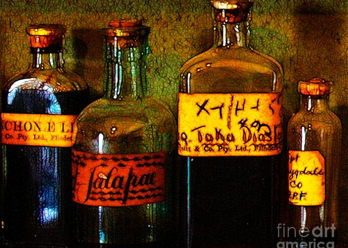 Medicine Greeting Card featuring the photograph Old Pharmacy Bottles - 20130118 V1b by Wingsdomain Art and Photography