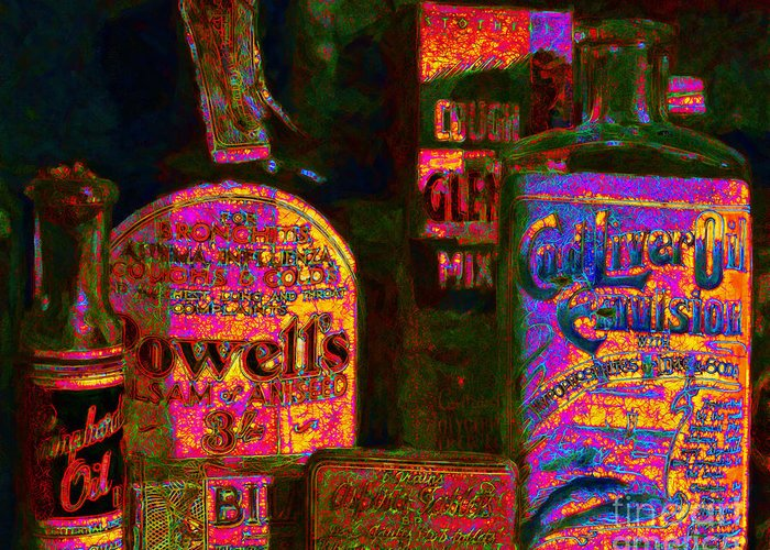 Medicine Greeting Card featuring the photograph Old Pharmacy Bottles - 20130118 V2a by Wingsdomain Art and Photography