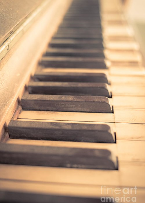 Piano Greeting Card featuring the photograph Old Piano Keys by Edward Fielding