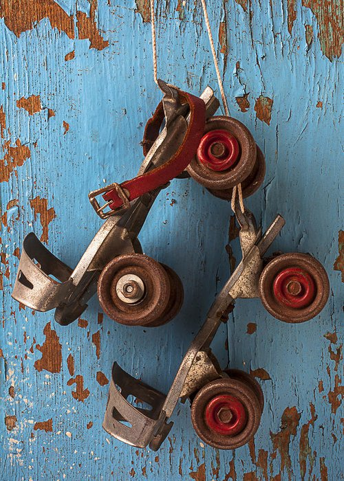 Old Roller Skates Greeting Card featuring the photograph Old Roller Skates by Garry Gay
