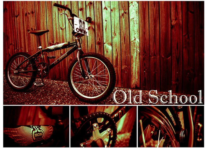 Bmx Greeting Card featuring the photograph Old School Bmx - Pk Collage Colour by Jamian Stayt