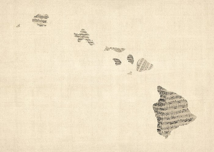 United States Map Greeting Card featuring the digital art Old Sheet Music Map Of Hawaii by Michael Tompsett