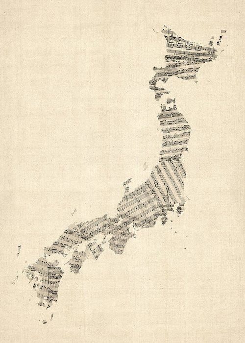 Japan Map Greeting Card featuring the digital art Old Sheet Music Map Of Japan by Michael Tompsett