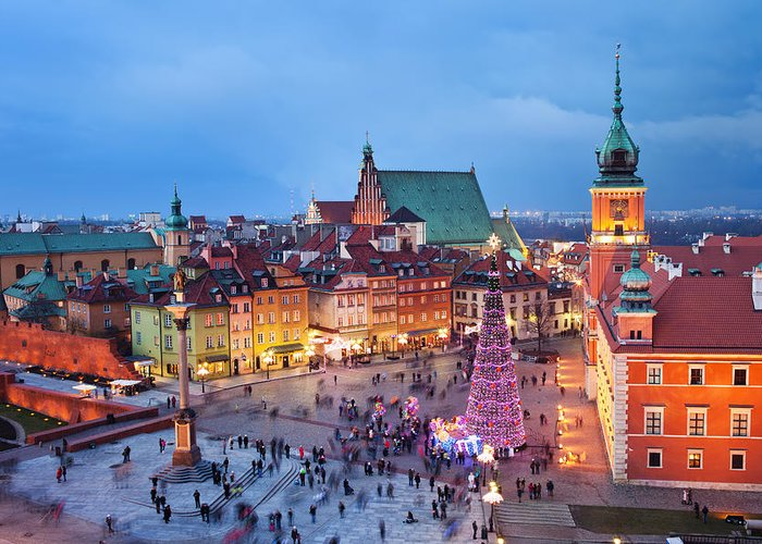 Above Greeting Card featuring the photograph Old Town In Warsaw At Evening by Artur Bogacki