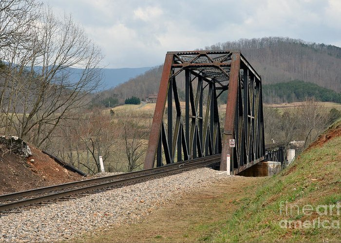 Natural Bridge Station Greeting Card featuring the photograph Old Train Trestle by Brenda Dorman