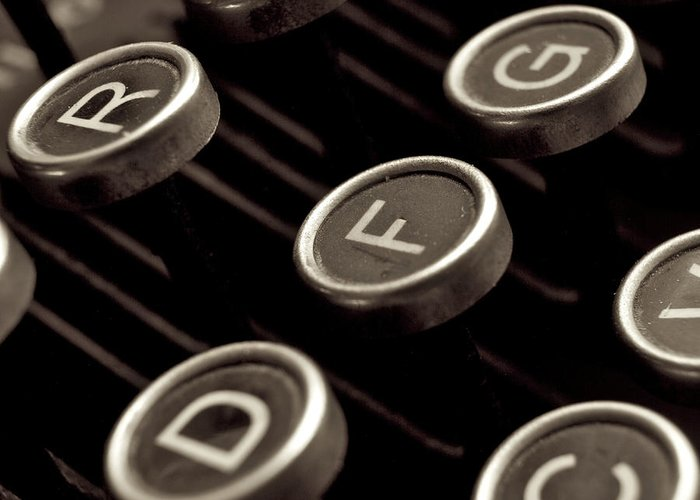 Studio Shot Greeting Card featuring the photograph Old Typewriter by Bernard Jaubert