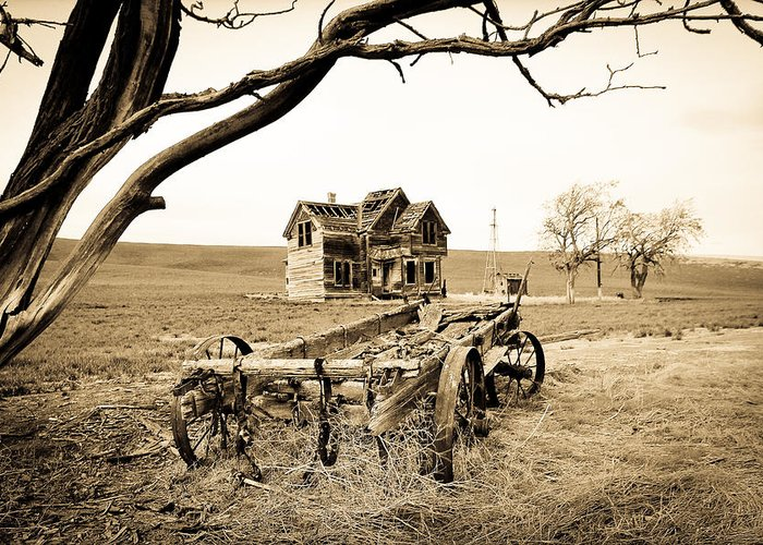 Covered Wagon Greeting Card featuring the photograph Old Wagon And Homestead II by Athena Mckinzie