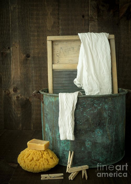 Laundry Greeting Card featuring the photograph Old Washboard Laundry Days by Edward Fielding