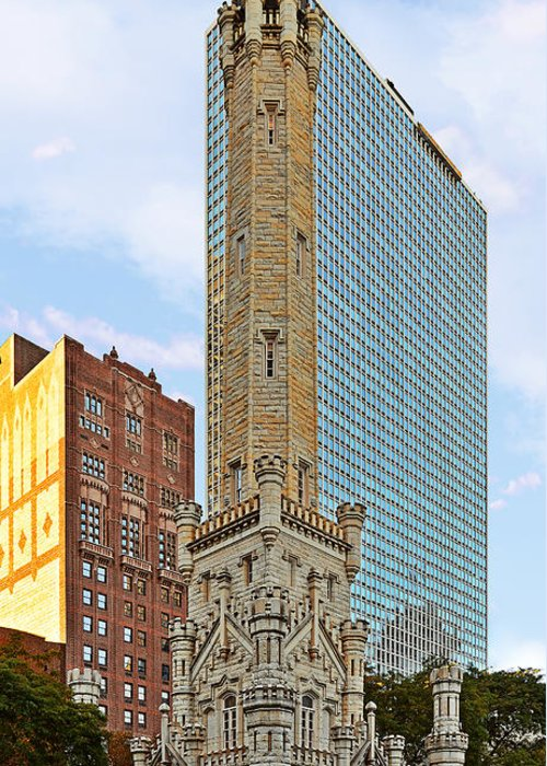 Old Greeting Card featuring the photograph Old Water Tower Chicago by Christine Till