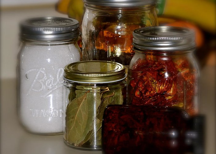 Faded Mason Jars- Herbs And Spices- With Foods And Dried Herbs- Country Cabinet- Old Jars-(art-photography Images By Rae Ann M. Garrett- Raeann Garrett) Greeting Card featuring the photograph Old Ways New by Rae Ann M Garrett
