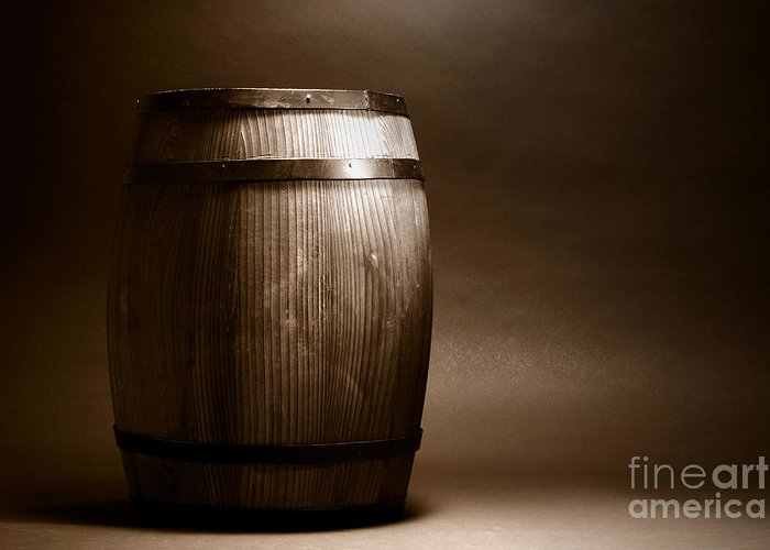 Barrel Greeting Card featuring the photograph Old Whisky Barrel by Olivier Le Queinec