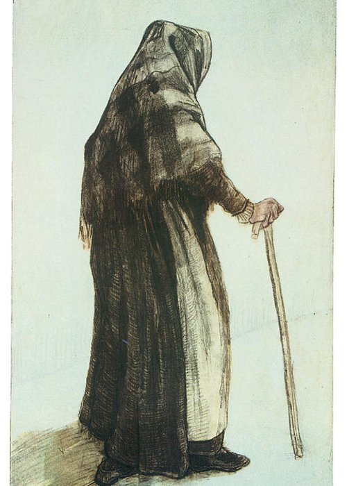 Old Woman Seen From Behind Greeting Card featuring the drawing Old Woman Seen From Behind by Vincent van Gogh