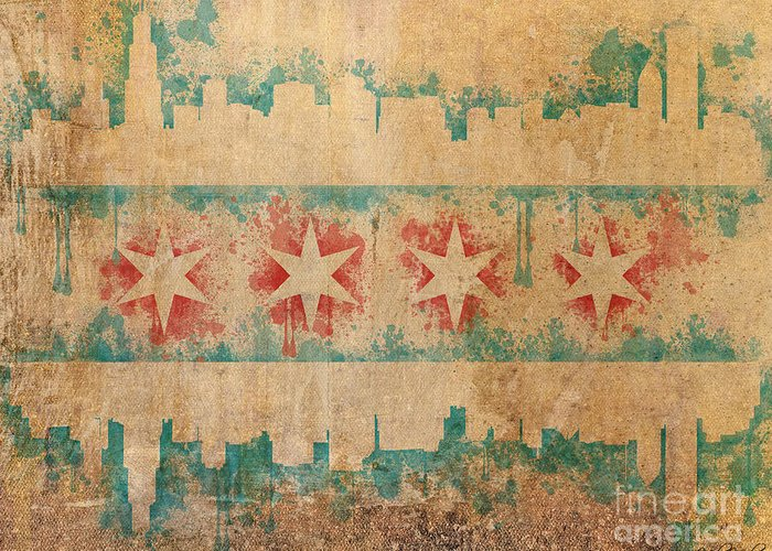 Chicago Greeting Card featuring the digital art Old World Chicago Flag by Mike Maher