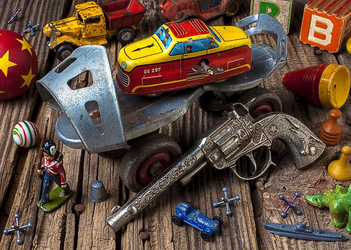 Collection Greeting Card featuring the photograph Older Roller Skate And Toys by Garry Gay