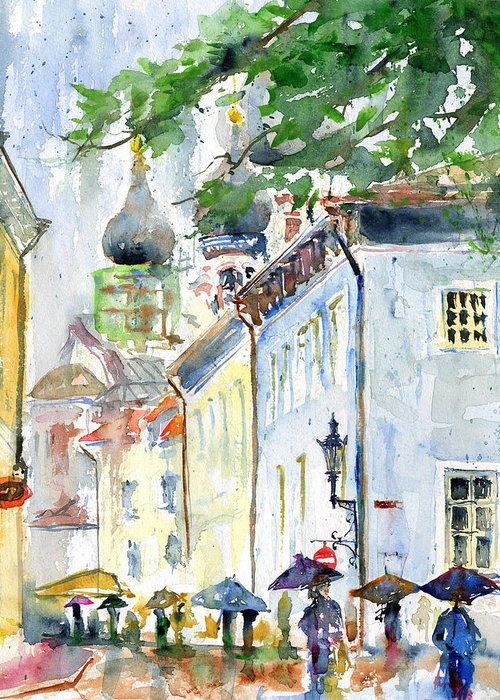 Tallinn Greeting Card featuring the painting Oldtown Tallinn Estonian by John D Benson