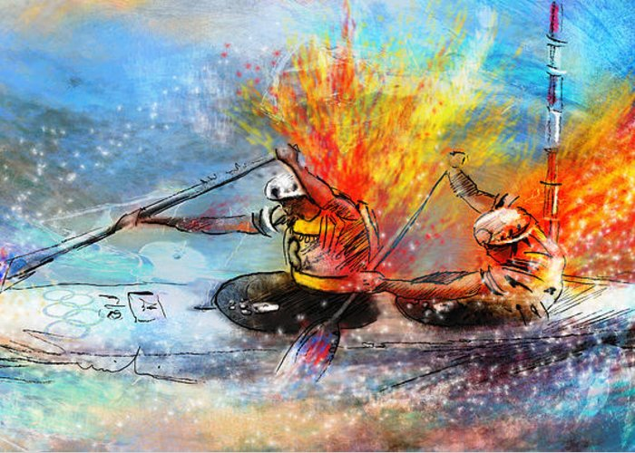 Sports Greeting Card featuring the painting Olympics Canoe Slalom 05 by Miki De Goodaboom