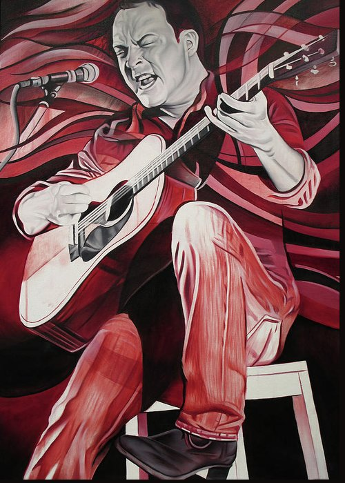 Dave Matthews Greeting Card featuring the painting On Bended Knees by Joshua Morton