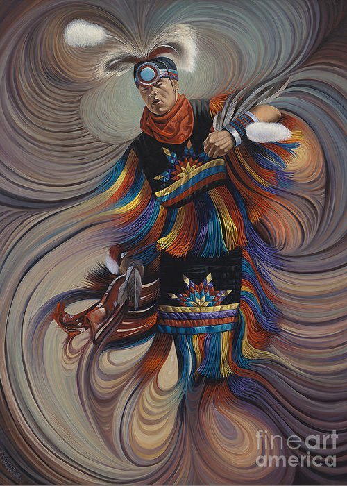 Native-american Greeting Card featuring the painting On Sacred Ground Series II by Ricardo Chavez-Mendez