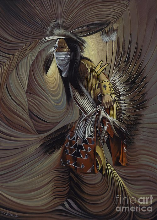 Native-american Greeting Card featuring the painting On Sacred Ground Series IIl by Ricardo Chavez-Mendez