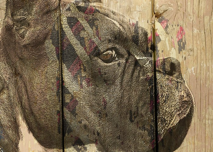 Boxer Dog Greeting Card featuring the digital art On The Fence by Judy Wood