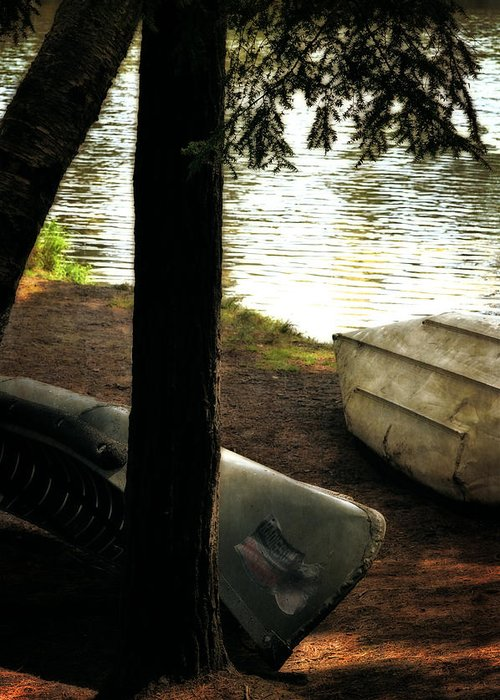 Canoe Greeting Card featuring the photograph On The Island by Michelle Calkins