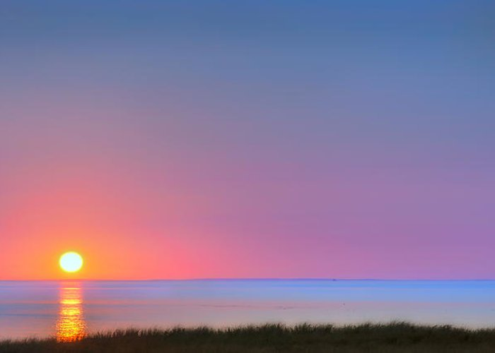 Sunset Greeting Card featuring the photograph On The Water by Bill Wakeley