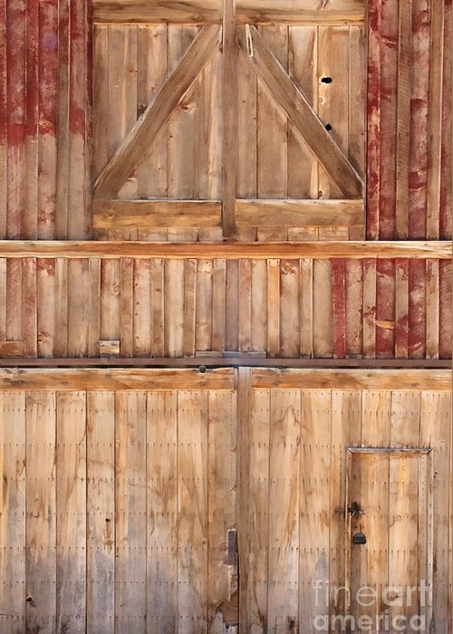 Details; Close Up; Barn; Door; Handle; Wood; Wooden; Detail; Closed; Windows; Entrance; Exit; Farm; Facade; Painted; Peeling; Red; Stained; Locked; Lock; Farm Greeting Card featuring the photograph Once Red Doors by Margie Hurwich