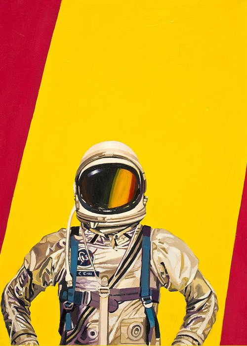 Astronaut Greeting Card featuring the painting One Golden Arch by Scott Listfield
